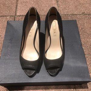 Black Prada Open Toe Heels